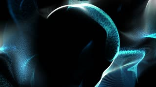 Seamless loop: Dynamic blue lines and particles in motion on a sphere surface. Computer, technology, and engineering theme. Abstract stylish wave animation. Depth of field settings. 3D rendering.