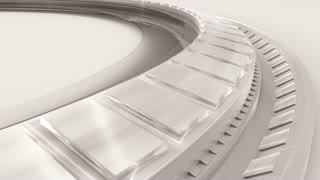 White metallic modules on rotating wheel. White 3D abstract advanced high technology motion background. 3D rendering