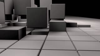 White realistic 3d cubes jumping while camera follows them
