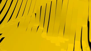 Yellow glossy plastic bands waving. Abstract technology, science and engineering motion background. 3d rendering.
