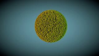 Yellow, golden and green particles evolving in a 3d abstract structure. Technology and engineering motion background. Depth of field settings. 3d rendering.