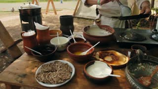 Cooking outdoors. Field kitchen. Russian cuisine at the festival
