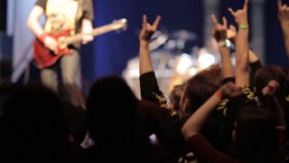 Crowd making party at a rock concert