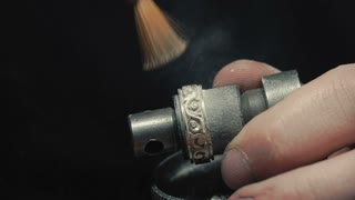 Jewelry Work. Processing of Gold Ring. Brush. Slow-Mo