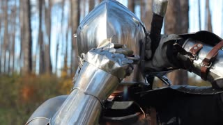 Knight сlose helmet. Preparing for a fight