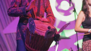 Musician Play The Hand Drum On Concert