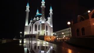 Russia, Kazan, Kul-Sharif Mosque at night