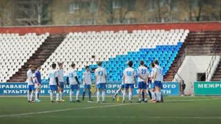 RUSSIA, SAMARA, May 15, 2015: Young Football Players Train At Football Stadium