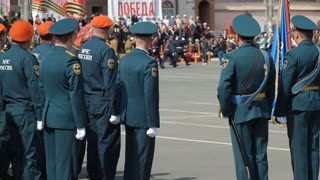 Russia, TolyattI, May 9, 2015: Russian army at the military parade. Victory Day