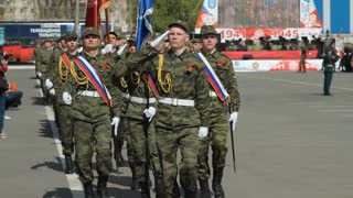 Russia, TolyattI, May 9, 2015: Russian soldiers marching on the parade ground. Military parade on Victory Day