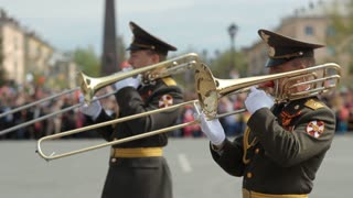 Russia, TolyattI, May 9, 2015, Victory Day, Military Orchestra performs at Military Parade