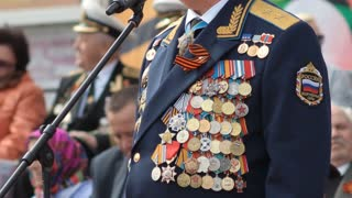 Russian Officer with military medals, military parade. Victory Day