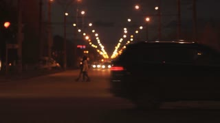 Traffic on highway in Russia. Night city