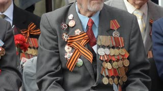Veteran Of World War II, military medals, military parade. Victory Day