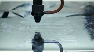Laser Cutting Machine At Work. Acrylic Plastic Cutting. Close-up