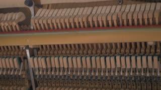 Playing Piano. Mechanism Of Piano. Inside View
