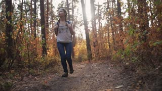 Young beautiful woman with a backpack walking in the autumn forest. Steadicam shot