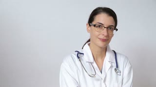 Doctor on white showing different expressions