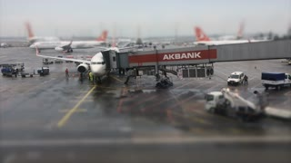 Istanbul Jan 1 2017 Airplane After Landing Unloading Luggage