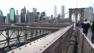 Low angle on Brooklyn bridge