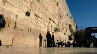 People Pray At The Western Wall Low angle