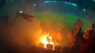 Shot of football game riots