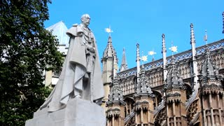 Shot of King George V statue near Westminster Abbey at London, England