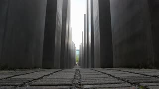 Shot of low angle of Memorial to the Murdered Jews of Europe