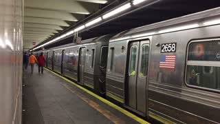 Shot of Subway train leaves the station with audio