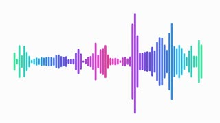 Audio spectrum line waveform animation on white background