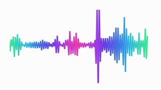 Audio spectrum waveform animation on white background
