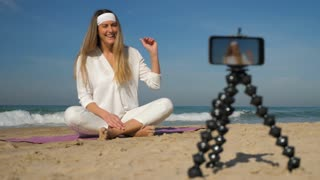 Vlogger Records Meditation And Yoga Video Tutorial