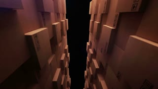 3d rendering of stack arrangement of cardboard boxes in a store warehouse
