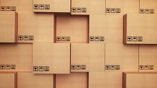3d stack of cardboard boxes with vertical movement