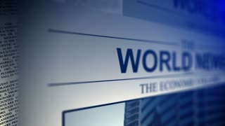 4K. Newspaper with world news titles.