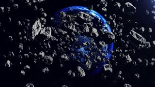 A lot of 3d Asteroids fly on the camera. The Earth planet in backdrop. 3d rendering.