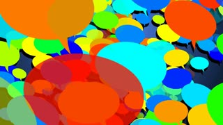 A lot of colorful speech bubbles move on the camera. Internet social media concept.