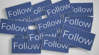 A lot of Follow buttons. Social media concept.