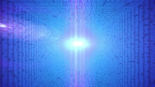Abstract binary code 3D line blue background