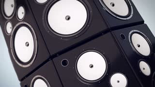 Animation of Hi fi audio stereo system sound speakers background