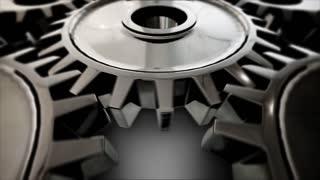 Close-up Of Machine Gears. Loop.