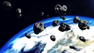 Closeup 3d rendering of asteroids and The Earth planet.