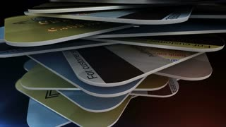Closeup of a pile of credit cards. Depth of field. Shopping concept.