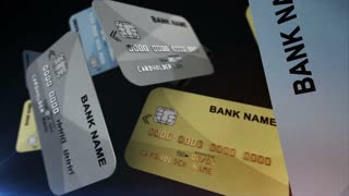 Color Credit cards hang in the air. Finance concept.