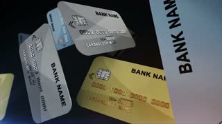 Color Credit cards hanging in air. Finance and shopping concept.