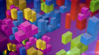 Colorful 3d tetris games blocks fall down on a pink background. Vintage game concept.