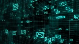 E-mail icons move in perspective view on dark grid background. Internet message concept.