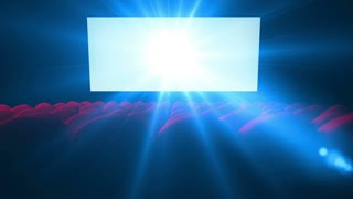 Flickering white screen with lens of empty modern cinema