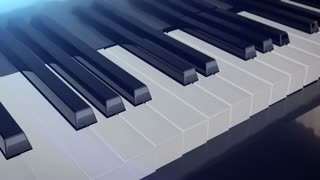 Grand piano keys deforms in length with mirror reflections. Abstract concept of the classic music.