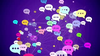 Group of Messages icons with plexus effect. Social media concept.